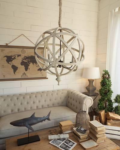 Lampadario sfera legno 3 luci stile shabby