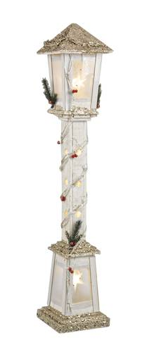 Lampione legno natale bianco glitter luce led 100h
