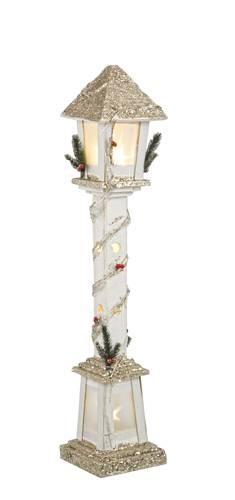 Lampione legno natale bianco glitter luce led 85h