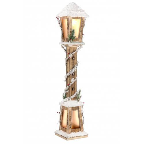 Lampione legno natale naturale luce led 100h