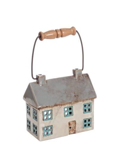 Lanterna casetta ceramica colorata portacandela