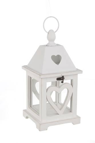 Lanterna legno bianco cuore 32h