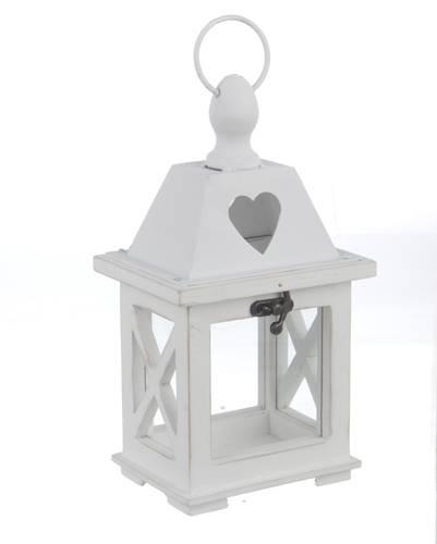 Lanterna legno bianco cuore h24