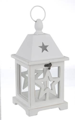 Lanterna legno bianco stella 32h