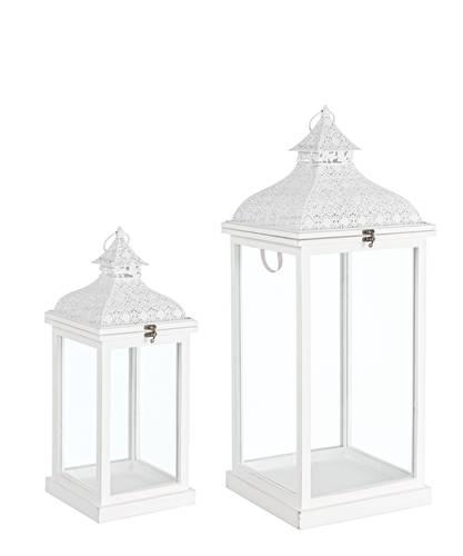 Lanterna legno bianco tetto decorazione trina
