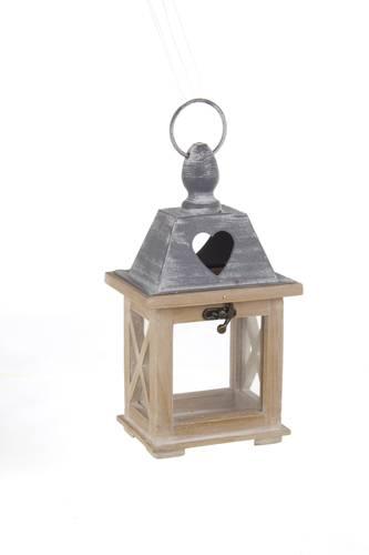 Lanterna legno naturale tetto grigio cuore 24h