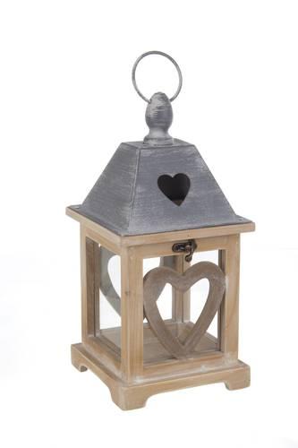 Lanterna legno naturale tetto grigio cuore 32h