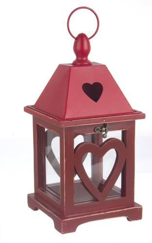 Lanterna legno rosso cuore 32h