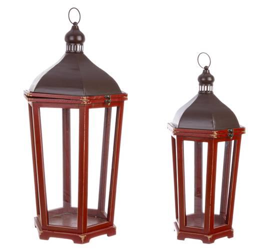 Lanterna legno rosso esagonale tirolo