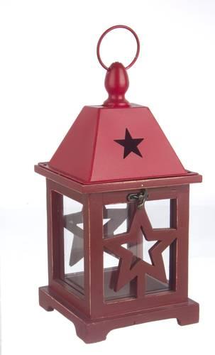 Lanterna legno rosso stella 32h