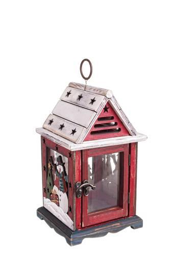Lanterna natalizia casa legno tetto bianco 25h