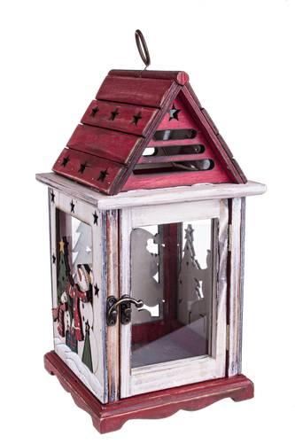 Lanterna natalizia casa legno tetto rosso 32h