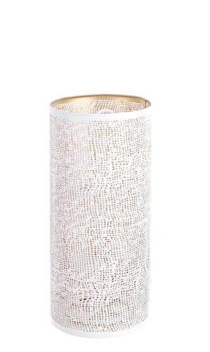 Lanterna portacandele cilindro metallo bianco oro 40h