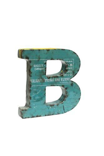 Lettera metallo B vintage colorata