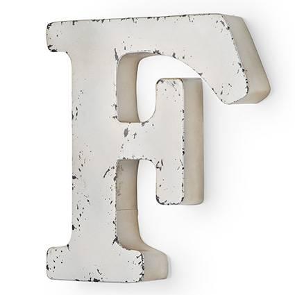 Lettera metallo F bianca