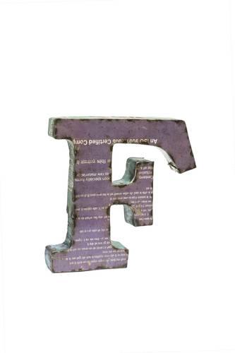 Lettera metallo F vintage colorata