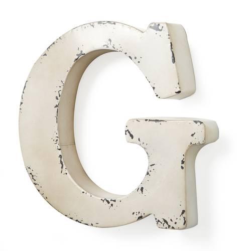 Lettera metallo G bianca