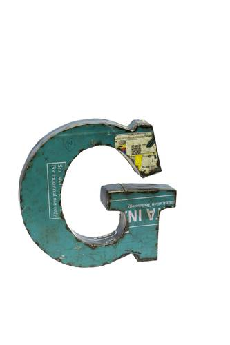 Lettera metallo G vintage colorata