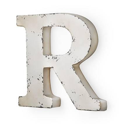 Lettera metallo R bianca