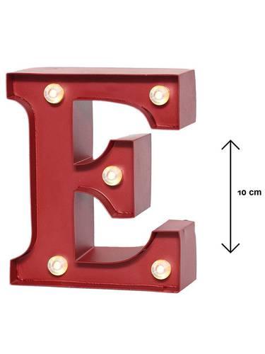 Lettera metallo rossa luminosa E