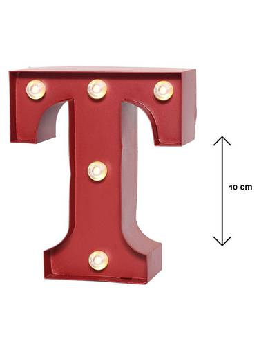 Lettera metallo rossa luminosa T