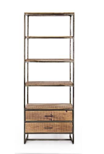 Libreria 4 piani+ 2 cassetti stile industrial ferro e legno