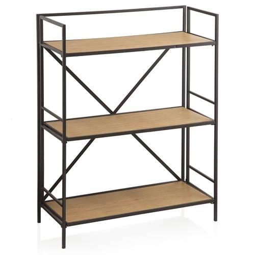 Libreria ferro nero 3 piani in legno 101h
