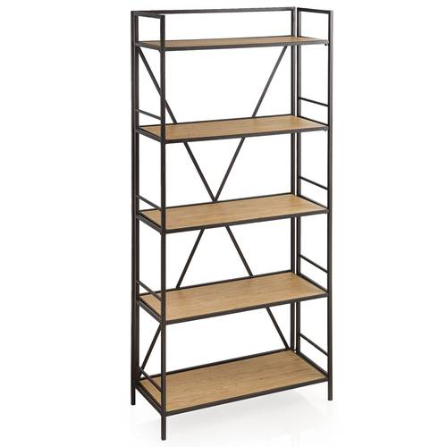Libreria ferro nero 5 piani in legno 169h