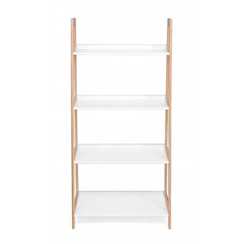 Libreria scala bianca 4 piani struttura bamboo