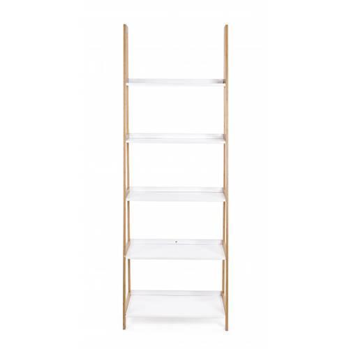 Libreria scala bianca 5 piani struttura bamboo