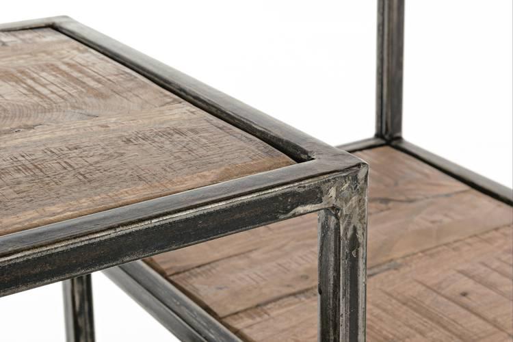 Libreria piani sfalsati stile industrial ferro e legno