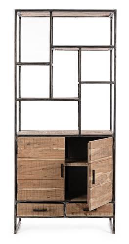 Libreria stile industrial ferro e legno piani+2ante+2cassetti