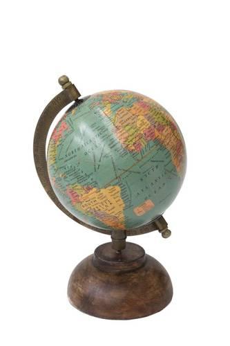 Mappamondo antico globo azzurro base legno h24