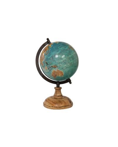 Mappamondo antico globo azzurro lucido base legno 29h
