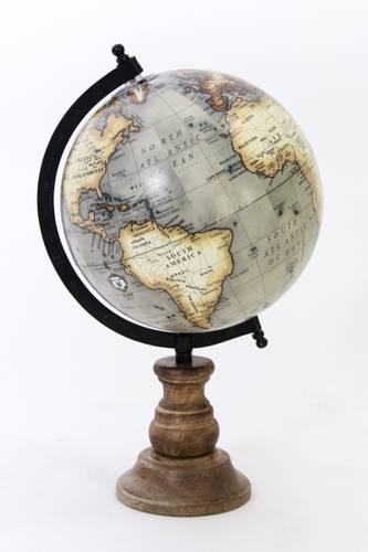 Mappamondo antico base legno globo grigio 35h