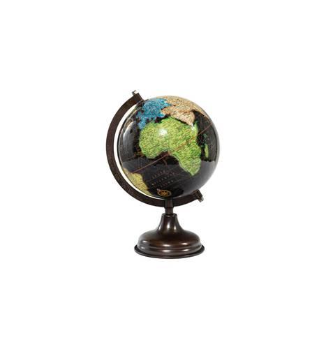 Mappamondo globo nero lucido continenti colorati 27h