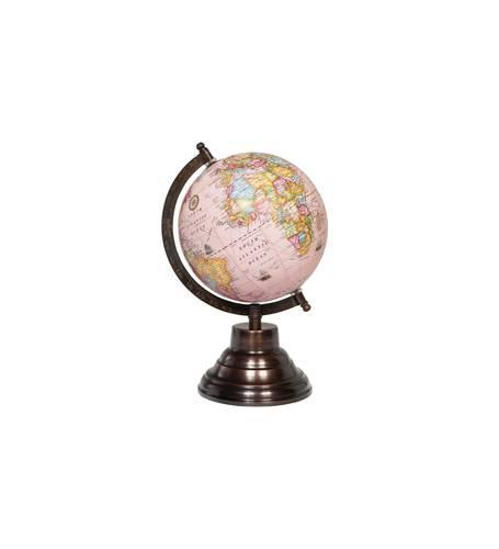 Mappamondo globo rosa continenti colorati 27h