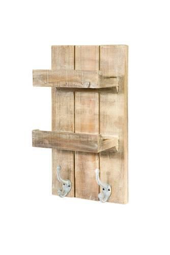 Mensola legno olmo 2 piani con attaccapanni