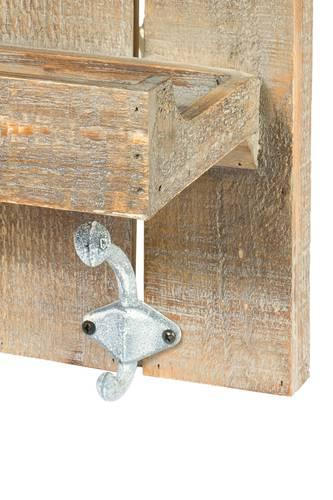 Mensola legno olmo 3 piani con attaccapanni