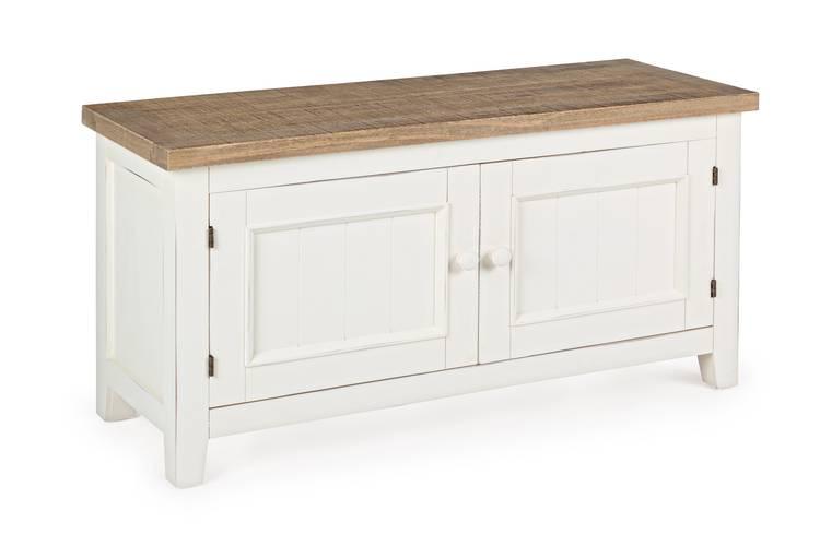 Mobile basso 2 ante legno bianco top naturale