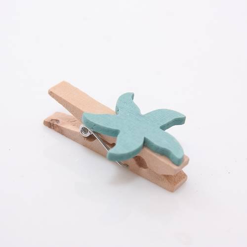 Mollettina legno con stella marina azzurra 8pz