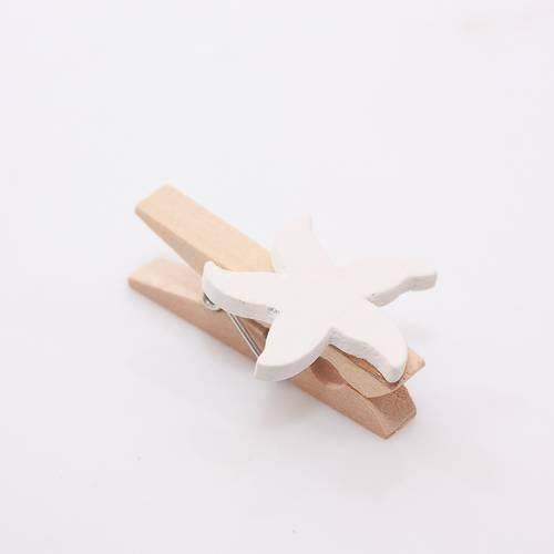 Mollettina legno con stella marina bianca 8pz