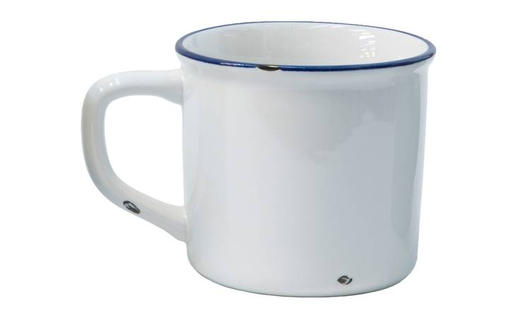Mug smaltata bianca larga h10