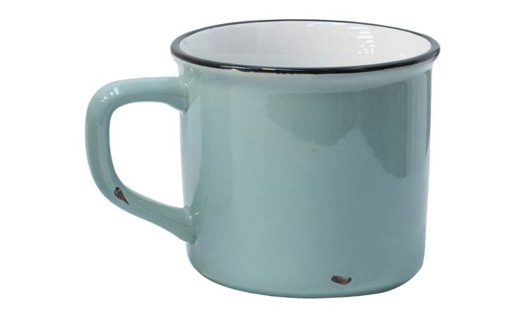 Mug smaltata celeste larga h10