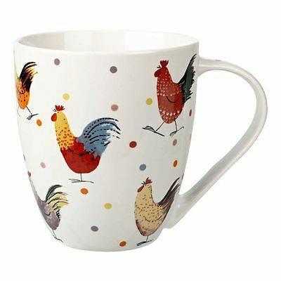 Mug tazza bianca galli colorati porcellana