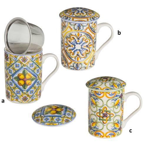 Mug tazza tisaniera porcellana colorata maioliche