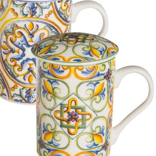 Mug tazza tisaniera porcellana colorata ortigia maioliche