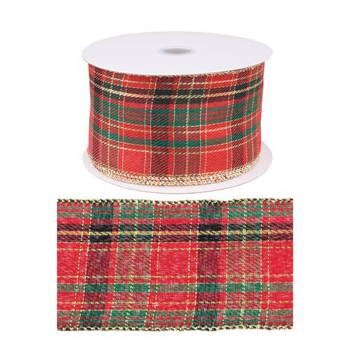 Nastro natalizio scozzese rosso 6,3x20metri
