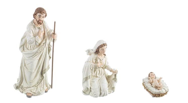 Nativita' sacra famiglia 3pz bianco e argento 50h