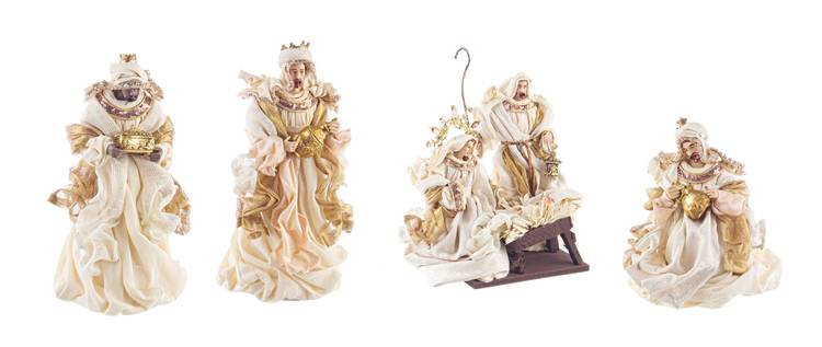 Nativita' sacra famiglia con magi fastosa in tessuto champagne 28h